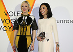 """April 21, 2016, Tokyo, Japan - Australian actress Cate Blanchett )L smiles with Japanese actress Yoshino Kimura during a photo call for the reception of Louis Vuitton's art exhibition in Tokyo on Thursday, April 21, 2016. French luxury barnd Luis Vuitton will hold the exhibition """"Volez, Voguez, Voyagez"""" in Tokyo from April 23 through June 19.  (Photo by Yoshio Tsunoda/AFLO) LWX -ytd-"""