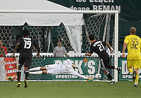 Pablo Hernandez #21 of D.C. United scores from the penalty spot past Andy Gruenebaum #30 of the Columbus Crew during a US Open Cup semi final match at RFK Stadium on September 1 2010, in Washington DC. Columbus won 2-1 aet.