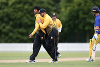 Wellington's Rachin Ravendra celebrates a wicket during the Wellington Firebirds v Otago Volts, Ford Trophy One Day match round five at Bert Sutcliffe Oval in Lincoln, New Zealand on Friday, 29 November 2019. Photo: Martin Hunter / lintottphoto.co.nz