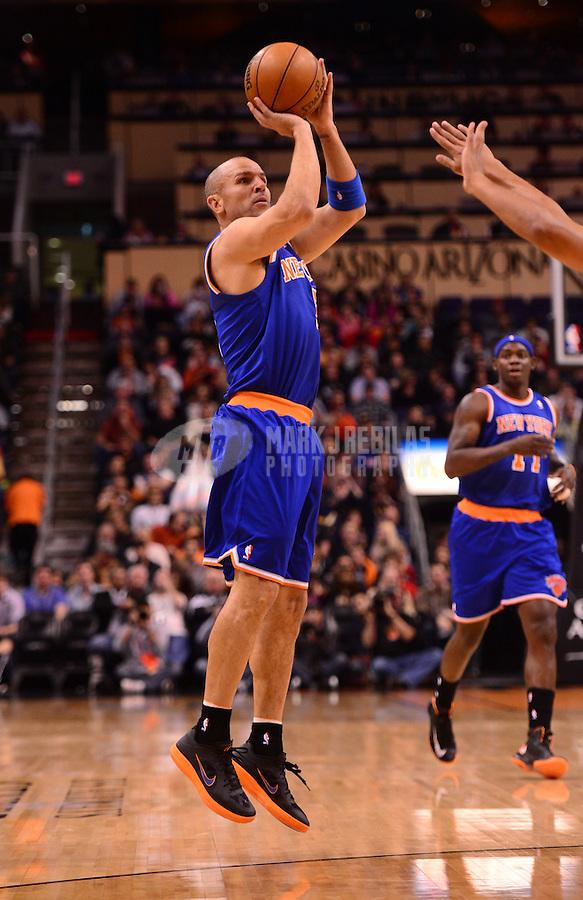 Dec. 26, 2012; Phoenix, AZ, USA: New York Knicks guard Jason Kidd (5) shoots a three pointer against the Phoenix Suns at the US Airways Center. Mandatory Credit: Mark J. Rebilas-USA TODAY Sports