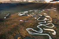 Aerial of the wild and scenic Wind River, Brooks range, Arctic National Wildlife Refuge, Alaska.