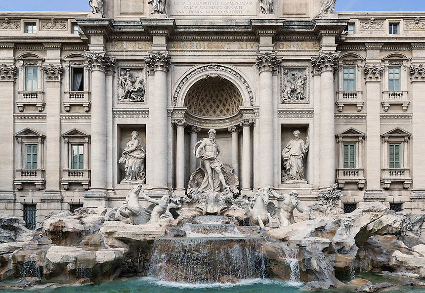 Tourists gather to admire the Trevi Fountain, Rome, Italy