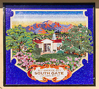 The amazing South Gate mural at the entrance to the Municipal Auditorium at South Gate Park.