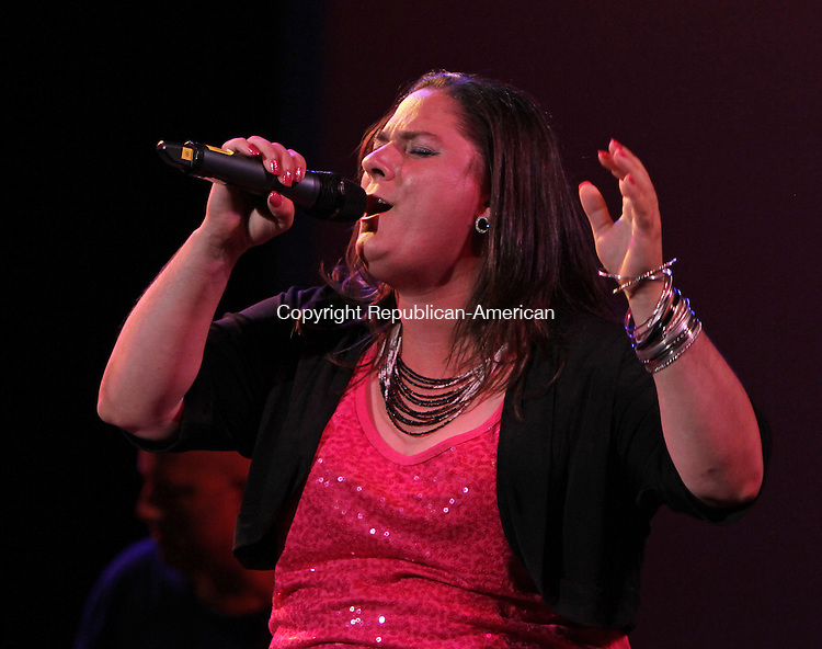 Torrington, CT-081013MK15 Bobbi Jo Klug was one of eleven singers to compete in the Torrington Parks and Recs. eighth annual Northwest Idol contest at the Warner Theatre Saturday night at the Warner Theatre in Torrington. Michael Kabelka / Republican-American.