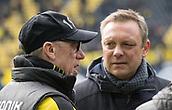 18th March 2018, Dortmund, Germany;  Football Bundesliga, Borussia Dortmund versus Hannover 96 at the Signal Iduna Park. Dortmund coach Peter Stoeger (l) and Andre Breitenreiter of Hanover 96 in conversation before kick-off.
