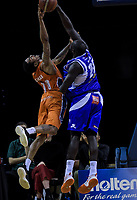 Majok Majok (Saints) fouls Orlando Coleman (Sharks) during the national basketball league final  between Wellington Saints and Southland Sharks at TSB Bank Arena in Wellington, New Zealand on Sunday, 5 August 2018. Photo: Dave Lintott / lintottphoto.co.nz
