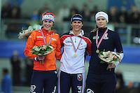 SPEED SKATING: STAVANGER: Sørmarka Arena, 31-01-2016, ISU World Cup, Podium 1000m Ladies Division A, Marrit Leenstra (NED), Brittany Bowe (USA), Vanessa Bittner (AUT), ©photo Martin de Jong