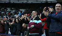 Burnley fans<br /> <br /> Photographer Rob Newell/CameraSport<br /> <br /> The Premier League - West Ham United v Burnley - Saturday 10th March 2018 - London Stadium - London<br /> <br /> World Copyright &not;&copy; 2018 CameraSport. All rights reserved. 43 Linden Ave. Countesthorpe. Leicester. England. LE8 5PG - Tel: +44 (0) 116 277 4147 - admin@camerasport.com - www.camerasport.com