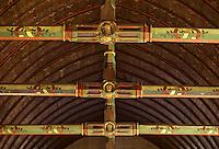 Europe/France/Bourgogne/29/Côte-d'Or/Beaune: Les hospices de Beaune - La salle des pauvres - Détail de charpente décorée