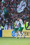 Stockholm 2013-06-23 Fotboll Superettan , Hammarby IF - &Auml;ngelholms FF :  <br /> Hammarby 10 Kennedy Bakircioglu gratuleras av Hammarby 13 Max von Schlebr&uuml;gge efter att ha kvitterat till 1-1 och gjort det sista m&aring;let i den sista matchen p&aring; S&ouml;derstadion<br /> (Foto: Kenta J&ouml;nsson) Nyckelord:  jubel gl&auml;dje lycka glad happy