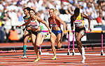 Pamela DUTKIEWICZ (GER, 2nd left) and Danielle WILLIAMS (JAM, right) dip for the line in the womens 100m hurdles heats. IAAF world athletics championships. London Olympic stadium. Queen Elizabeth Olympic park. Stratford. London. UK. 11/08/2017. ~ MANDATORY CREDIT Garry Bowden/SIPPA - NO UNAUTHORISED USE - +44 7837 394578