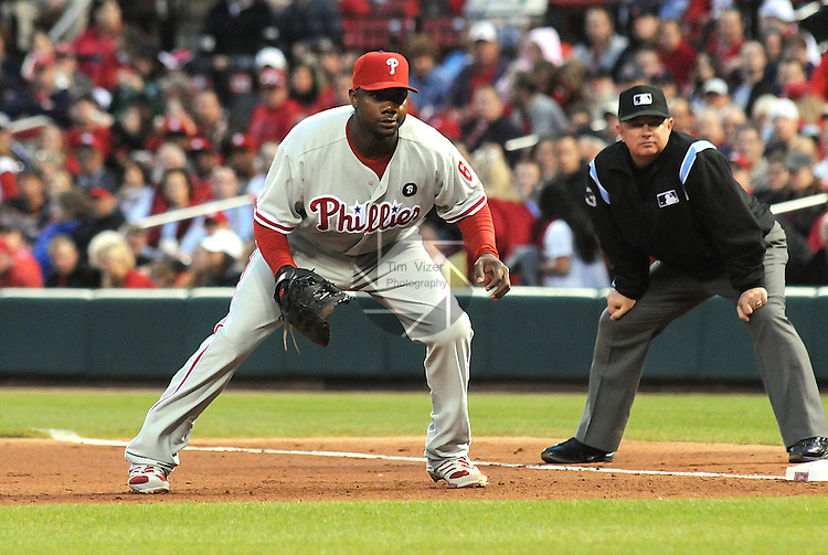 17 May 2011                              Philadelphia Phillies first baseman Ryan Howard (6) covers first base early in the game. The St. Louis Cardinals defeated the Philadelphia Phillies 2-1 on Tuesday May 17, 2011 in the second game of a two-game series at Busch Stadium in downtown St. Louis.