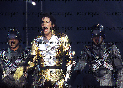 MICHAEL JACKSON - performing live on the HIStory World Tour at Wembley Stadium in London UK - 12 Jul 1997.  Photo credit: George Bodnar Archive/IconicPix