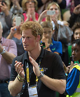 Friday 12th September 2014<br /> Picture: Prince Harry<br /> RE: Prince Harry supporting the athletes at the Invictus Games Queen Elizabeth Olympic Park, London, United Kingdom