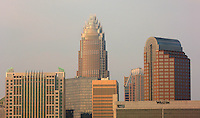 Tight view up the buildings in uptown Charlotte, NC.