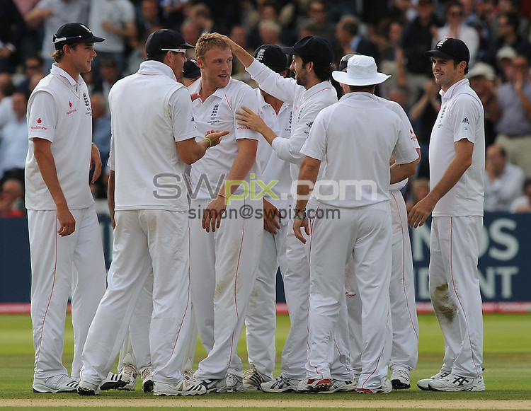 PICTURE BY ALEX BROADWAY/SWPIX.COM - Cricket - The Ashes 2009, 2nd Test - England v Australia, Day Two - Lord's, London, England - 17/07/09...Copyright - Simon Wilkinson - 07811267706...Andrew Flintoff of England celebrates the wicket of Australia's Mike Hussey.