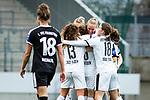 16.03.2019, Stadion Essen, Essen, GER, AFBL, SGS Essen vs TSG 1899 Hoffenheim, DFL REGULATIONS PROHIBIT ANY USE OF PHOTOGRAPHS AS IMAGE SEQUENCES AND/OR QUASI-VIDEO<br /> <br /> im Bild | picture shows:<br /> Turid Knaak (SGS Essen #33) jubelt mit Jacqueline Klasen (SGS Essen #16), Ramona Petzelberger (SGS Essen #13) und Lena Ostermeier (SGS Essen #18) &uuml;ber ihren Treffer zum 1:0, erzielt per Fernschuss, <br /> <br /> Foto &copy; nordphoto / Rauch