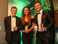 Thursday 10th May 2018 | Ulster Rugby Awards 2018<br /> <br /> Special Recognition Award to Norman Pollock (AKA Sparky) and Deloitte Women&rsquo;s Player of the Year to Larissa Muldoon and the the Bank of Ireland Ulster Player of the Year Award winner John Cooney, during the 2018 Heineken Ulster Rugby Awards at La Mom Hotel, Belfast. Photo by John Dickson / DICKSONDIGITAL