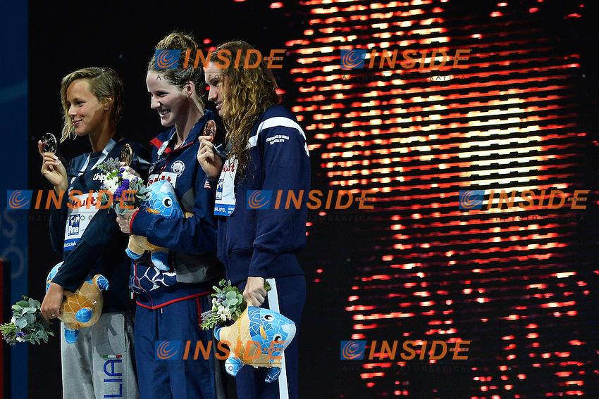 Federica Pellegrini Italia Silver Medal, Melanie Franklyn Gold Medal, Camille Muffat Bronze Medal Women's 200m Freestyle <br /> Swimming - Nuoto <br /> Barcellona 31/7/2013 Palau St Jordi <br /> Barcelona 2013 15 Fina World Championships Aquatics <br /> Foto Andrea Staccioli Insidefoto
