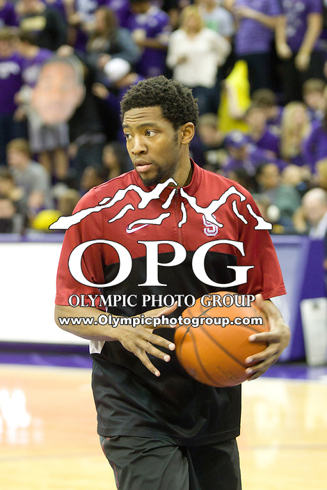 February 12, 2014:   Stanford's Chasson Randle against Washington.  Washington defeated Stanford 64-60 at Alaska Airlines Arena in Seattle, Washington.