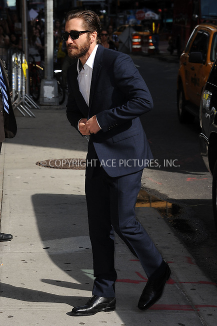 WWW.ACEPIXS.COM . . . . . .August 27, 2012...New York City....Jake Gyllenhaal tapes  an appearance on the Late Show with David Letterman on August 27, 2012  in New York City....Please byline: KRISTIN CALLAHAN - ACEPIXS.COM.. . . . . . ..Ace Pictures, Inc: ..tel: (212) 243 8787 or (646) 769 0430..e-mail: info@acepixs.com..web: http://www.acepixs.com .