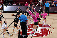 October 19, 2017 -- Stanford, CA:  Stanford Women's Volleyball defeats Washington in 5 sets, 3-2, at Maples Pavilion.