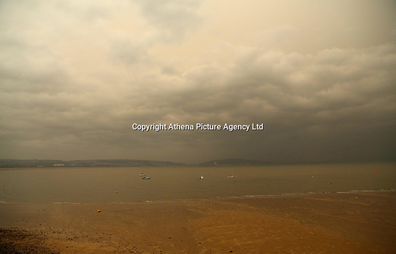 """Swansea Bay as seen from the seaside village of Mumbles near Swansea, UK. Monday 16 October 2017<br /> Re: Remnants of Hurricane Ophelia are expected to bring strong gusts of wind to Wales when it hits Britain's shores.<br /> The hurricane, making its way from the Azores in the Atlantic Ocean, will have weakened to a storm when it arrives.<br /> A Met Office amber """"be prepared"""" warning has been issued in some areas bringing """"potential danger to life""""."""