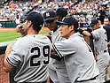 (L-R) Francisco Cervelli, Ivan Nova, Masahiro Tanaka, Ichiro Suzuki (Yankees),<br /> APRIL 1, 2014 - MLB :<br /> Masahiro Tanaka of the New York Yankees talks with his teammates Francisco Cervelli and Ivan Nova in the dugout during the baseball game against the Houston Astros at Minute Maid Park in Houston, Texas, United States. (Photo by AFLO)