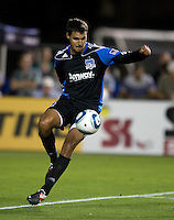 Chris Wondolowski of Earthquakes in action during the game against the WhiteCaps at Buck Shaw Stadium in Santa Clara, California on July 20th, 2011.  Earthquakes and WhiteCaps are tied 2-2 at the end of the game.
