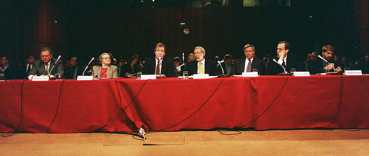 11/4/97.COMPETITION IN THE DIGTAL AGE:Senate Judiciary Committee hearing on competition,innovation and public policy in the digital age.Witnesses testifying are Robert E. Kahn-president/treasurer,Corporation for National Research Initiatives,Kathie Sawyer-Practical Web Solutions,Paul Ruden-senior V.P.,Legal and Industry Affairs,American Society of Travel Agents,Ed Black-president,Computers and Communications,Kevin Arquit-Rogers&Wells,Charles Rule-Covington&Burling, and Joseph Farrell-professer,University of California,Berkeley..CONGRESSIONAL QUARTERLY PHOTO BY DOUGLAS GRAHAM