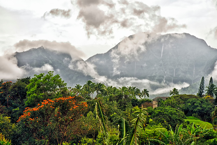 A view from Princeville, Kauai, on a rainy afternoon in February.