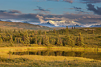 Tundra kettle pond, foothills of the Alaska Range mountains, Interior, Alaska.