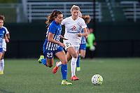 Allston, MA - Sunday, May 22, 2016: Boston Breakers defender Brooke Elby (23) and FC Kansas City defender Katie Bowen (21) during a regular season National Women's Soccer League (NWSL) match at Jordan Field.