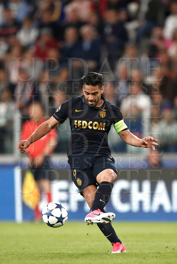 Football Soccer: UEFA Champions League semifinal second leg Juventus - Monaco, Juventus stadium, Turin, Italy,  May 9, 2017. <br /> Monaco's Radamel Falcao in action during the Uefa Champions League football match between Juventus and Monaco at Juventus stadium, on May 9, 2017.<br /> UPDATE IMAGES PRESS/Isabella Bonotto