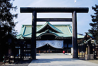 Japan, Tokyo: Yasukuni Shrine at Chiyoda district, warshipping of war deads, Torii (gate, entrance) made of bronze