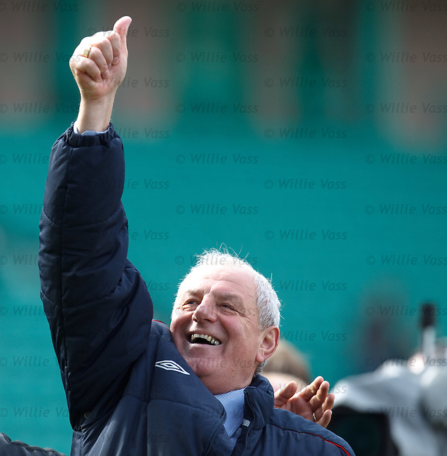 Walter Smith waves to the Rangers fans