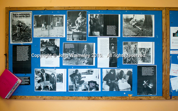 """A display of photos of Summerhill taken in 1967-68 by photographer, John Walmsley, for his final year project at Art School.  They were published as a Penguin Education Special, """"Neill & Summerhill: a Man and his Work"""", with a text collected by Leila Berg, in 1969.  This display was put up in the Dining Room to mark his return visit (he took these modern colour photos) in 2010,  42 years later.    Summerhill School, Leiston, Suffolk. The school was founded by A.S.Neill in 1921 and is run on democratic lines with each person, adult or child, having an equal say.  You don't have to go to lessons if you don't want to but could play all day.  It gets above average GCSE exam results."""