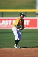 AZL Athletics Gold shortstop Elvis Peralta (3) during an Arizona League game against the AZL Rangers on July 15, 2019 at Hohokam Stadium in Mesa, Arizona. The AZL Athletics Gold defeated the AZL Athletics Gold 9-8 in 11 innings. (Zachary Lucy/Four Seam Images)
