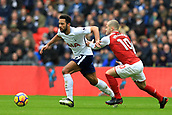 10th February 2018, Wembley Stadium, London England; EPL Premier League football, Tottenham Hotspur versus Arsenal; Mousa Dembele of Tottenham Hotspur battles with Jack Wilshere of Arsenal