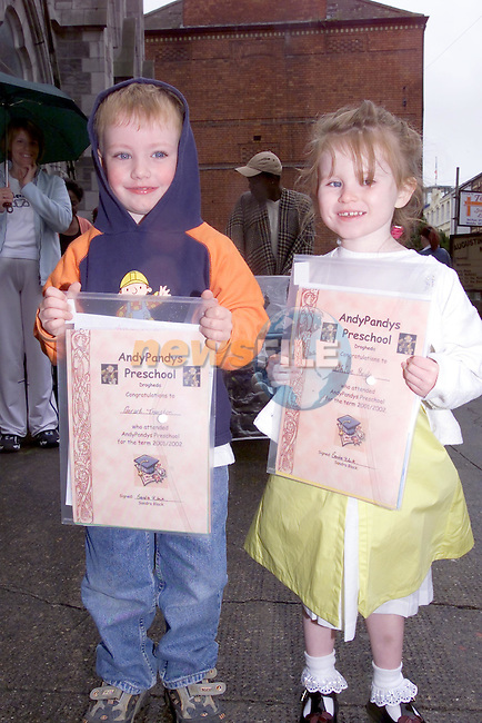 Gerard Thornton and Chloe Boyle with there certs for attending Andy Pandies Play school..Picture Fran Caffrey Newsfile...This Picture is sent to you by:..Newsfile Ltd.The View, Millmount Abbey, Drogheda, Co Louth, Ireland..Tel: +353419871240.Fax: +353419871260.GSM: +353862500958.ISDN: +353419871010.email: pictures@newsfile.ie.www.newsfile.ie