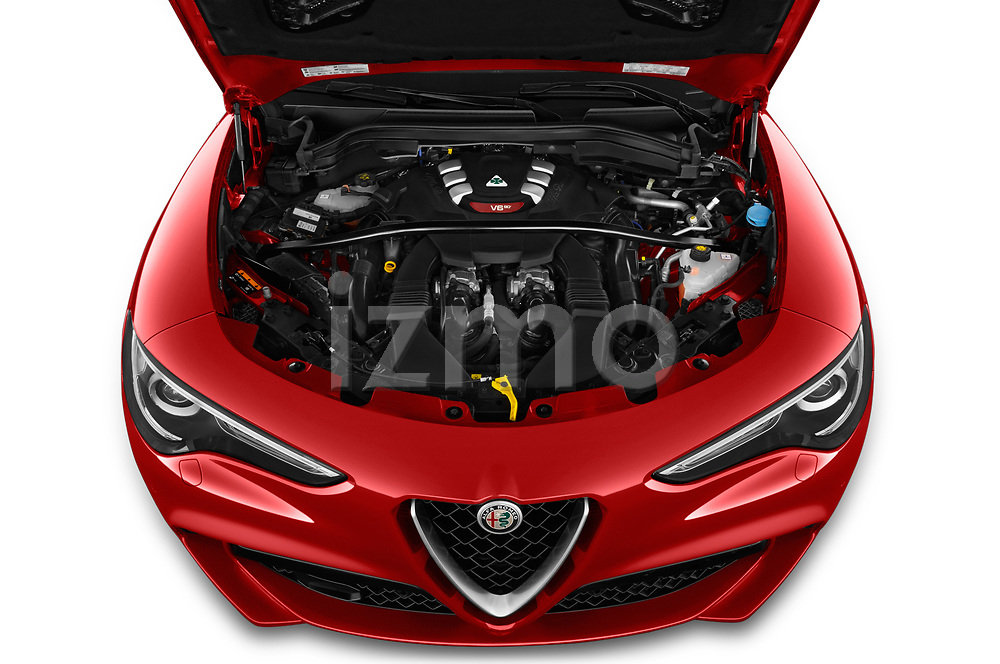 Car Stock 2019 Alfaromeo Stelvio-Quadrifoglio - 5 Door SUV Engine  high angle detail view