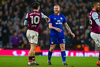 Jack Grealish of Aston Villa and Aron Gunnarsson of Cardiff City have a disagreement during the Sky Bet Championship match between Aston Villa and Cardiff City at Villa Park, Birmingham, England on 10 April 2018. Photo by Mark  Hawkins / PRiME Media Images.