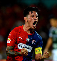 MEDELLÍN-COLOMBIA, 06-11-2019: Germán Ezequiel Cano de Deportivo Independiente Medellín celebra el gol que anotó a Deportivo Cali, durante partido de vuelta entre Deportivo Independiente Medellín y Deportivo Cali, por la final de la Copa Águila 2019, en el estadio Atanasio Girardot de la ciudad de Medellín. / Germán Ezequiel Cano of Deportivo Independiente Medellin celebrates the scored goal to Deportivo Cali, during a match of the second leg between Deportivo Independiente Medellin and Deportivo Cali, for the final of the Aguila Cup 2019 at the Atanasio Girardot stadium in Medellin city. / Photo: VizzorImage  / León Monsalve / Cont.