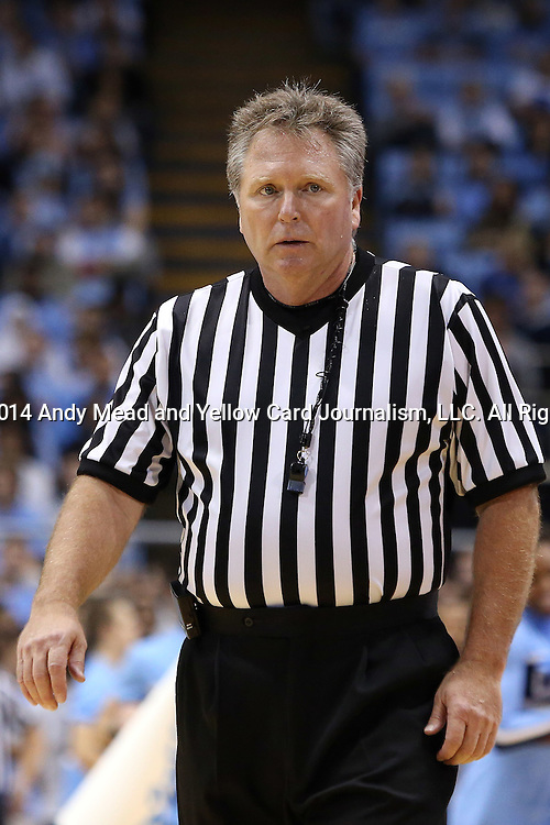 07 November 2014: Referee Karl Hess. The University of North Carolina Tar Heels played the Belmont Abbey College Crusaders in an NCAA Division I Men's basketball exhibition game at the Dean E. Smith Center in Chapel Hill, North Carolina. UNC won the game 112-34.