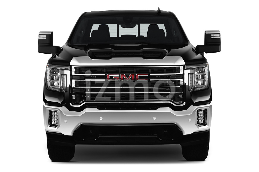 Car photography straight front view of a 2020 GMC Sierra-2500-HD SLT 4 Door Pick-up Front View