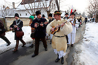 Folk Musicians on the Monady house visits of  the Busojaras Spring  festival 2010 Mohacs Hungary - Stock photos