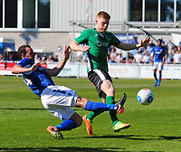 Lincoln City's Elliott Whitehouse vies for possession with Eastleigh's Sam Togwell<br /> <br /> Photographer Andrew Vaughan/CameraSport<br /> <br /> Vanarama National League - Eastleigh v Lincoln City - Saturday 8th April 2017 - Silverlake Stadium - Eastleigh<br /> <br /> World Copyright &copy; 2017 CameraSport. All rights reserved. 43 Linden Ave. Countesthorpe. Leicester. England. LE8 5PG - Tel: +44 (0) 116 277 4147 - admin@camerasport.com - www.camerasport.com