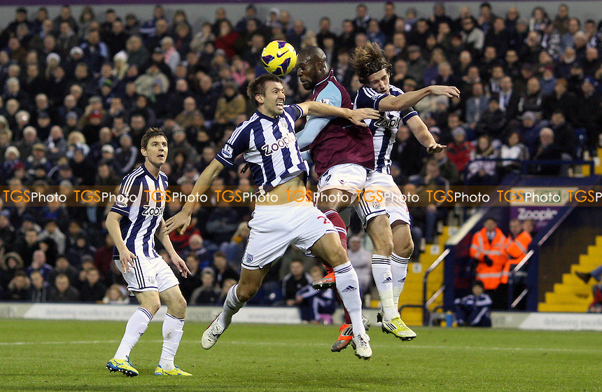 Carlton Cole of West Ham makes a nuisance of himself in the West Brom penalty box - West Bromwich Albion vs West Ham United, Barclays Premier League at The Hawthorns, West Bromwich - 16/12/12 - MANDATORY CREDIT: Rob Newell/TGSPHOTO - Self billing applies where appropriate - 0845 094 6026 - contact@tgsphoto.co.uk - NO UNPAID USE.