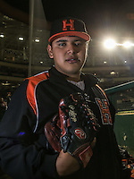 Edgar Torres pitcher de Naranjeros, durante el tercer juego de la Serie entre Tomateros de Culiacán vs Naranjeros de Hermosillo en el Estadio Sonora. Segunda vuelta de la Liga Mexicana del Pacifico (LMP) **26Dici2015.<br /> **CreditoFoto:LuisGutierrez<br /> **<br /> Shares during the third game of the series between Culiacan Tomateros vs Orange sellers of Hermosillo in Sonora Stadium. Second round of the Mexican Pacific League (PML)
