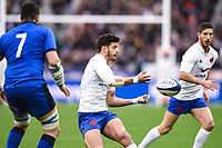 9th February 20020, Stade de France, Paris, France; 6-Nations international mens rugby union, France versus Italy;  Romain Ntamack (France ) offloads as Sebastian Negri (Italy ) comes in